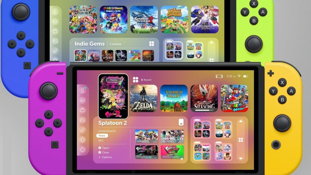 Redesign the Nintendo Switch user interface to make the main menu and eShop look like Apple's iOS