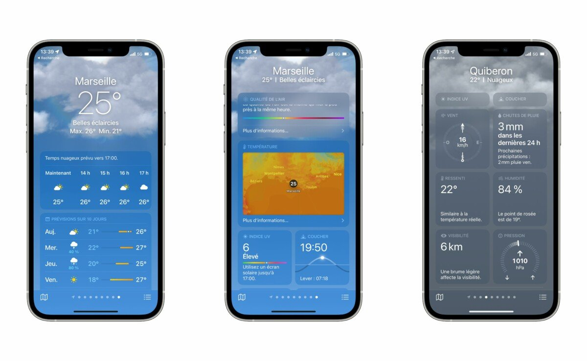The new weather application shows more details than the previous one