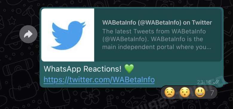 WhatsApp reactions leak