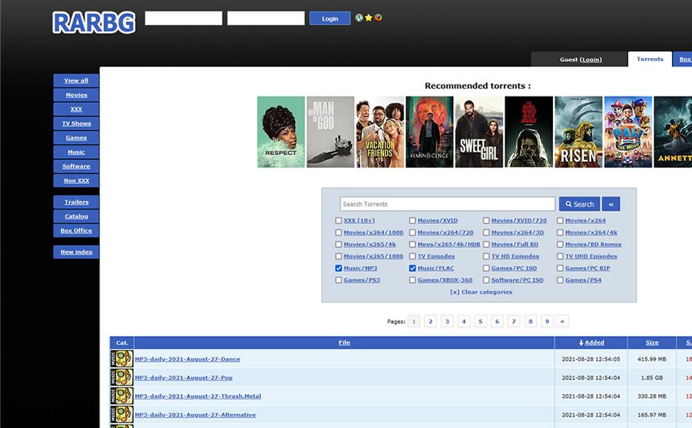 RARBG Official Address Torrents Mirrors Website