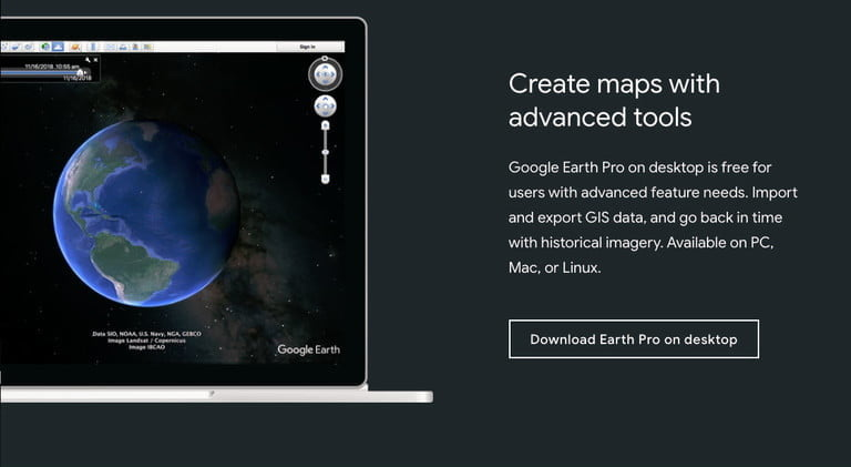 Acceptez les conditions pour obtenir gratuitement Google Earth Pro.