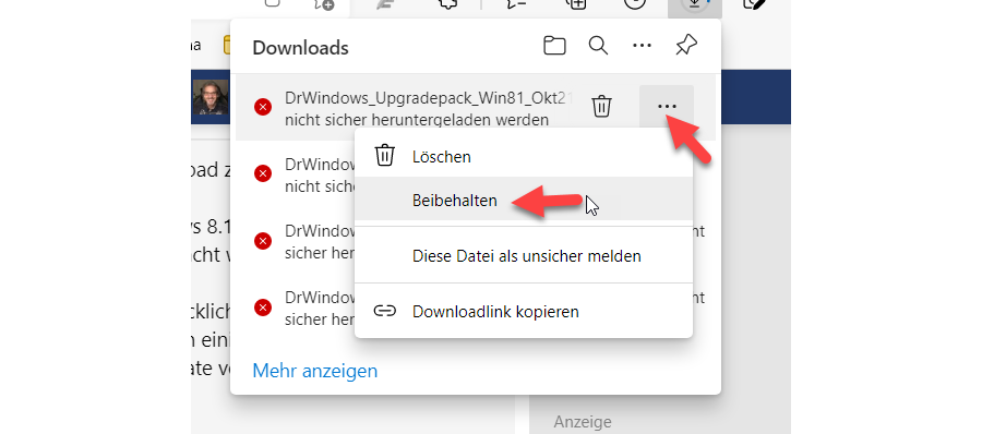 Open the blocked HTTP download on the Edge - Step 1