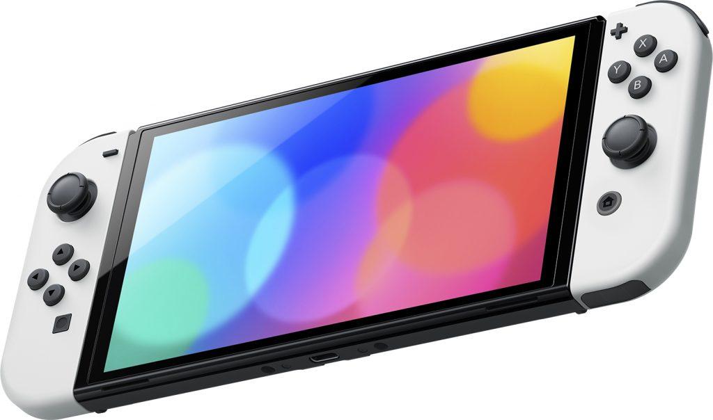 Nintendo Switch (OLED-Modell) vor weißem Hintergrund.
