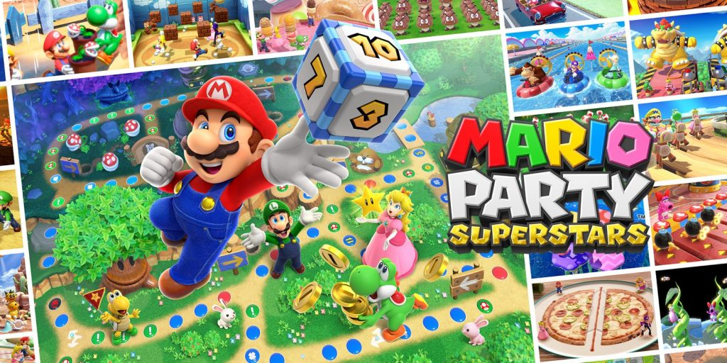 Shows boards, modes and mini-games from Nintendo Mario Party Superstars • Nintendo Connect