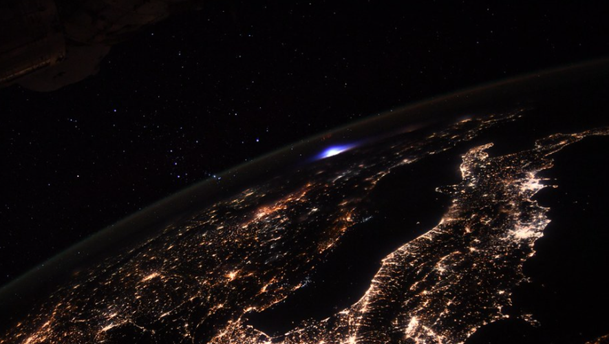 What is this mysterious blue light captured by Thomas Baskett from space?